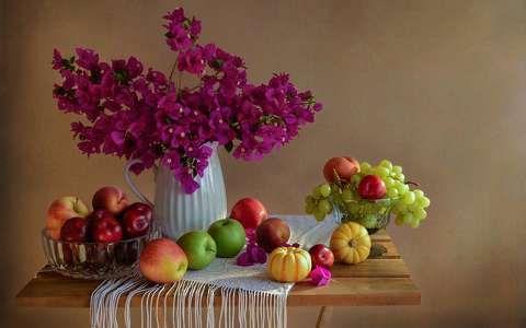 alma bougainvillea csendélet gyümölcs