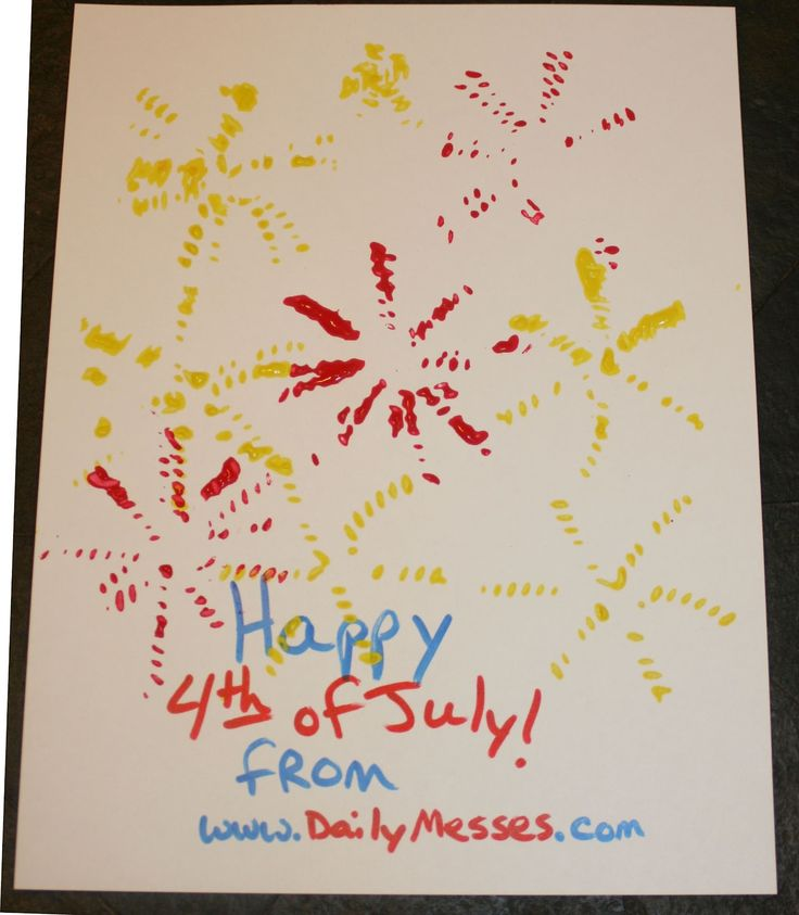 www.DailyMesses.com - Easy 4th of July Foods and Craft (Rotini noodles glued onto cardboard for kids to stamp with!)