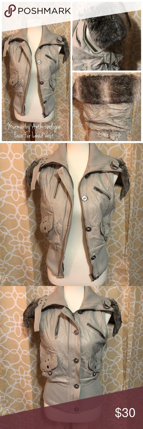 Murmur by Anthropologie Faux Fur Lined Vest Cozy seasonal transition piece to keep you warm until the sunshine comes back (if you live up north like me! Brrrr). Perfect paired with skinny's & a bootie or some joggers and sneaks. EUC. Size M. Anthropologie Jackets & Coats Vests