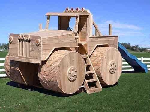 Amish PA Dutch Handmade Wooden Swingset Playground Equipment Monster Truck Slide | eBay: