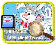 Snow Bunny - Find the Differences Game, Online mobile and tablet-ready game for kids
