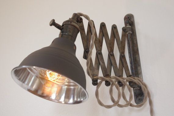 Industrial Scissor Accordion Wall Lamp Light - Full Range Dimmer Socket - Antiqued Patina  - Mirrored Dark Gray Shop Light & Shade