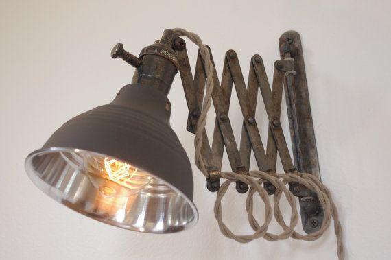Industrial Scissor Accordion Wall Lamp Light - Full Range Dimmer Socket - Antiqued Patina  - Mirrored Dark Gray Shop Light & Shade