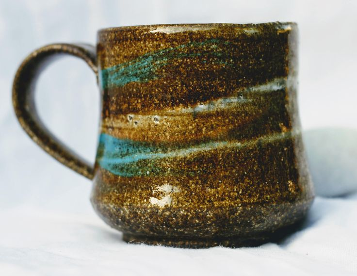 Hand thrown stoneware slip decorated ceramic mug. by FireonClay on Etsy