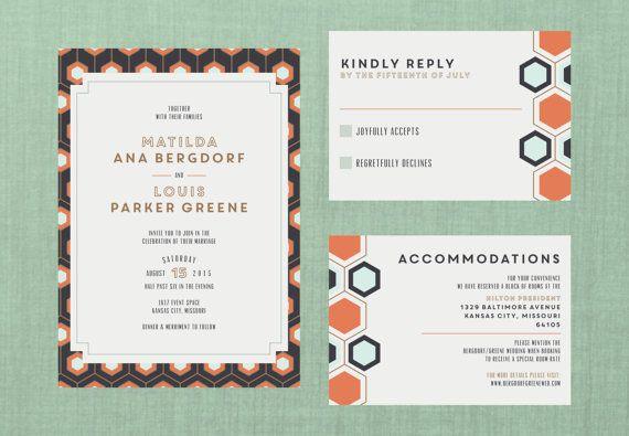 Art Deco Honeycomb Wedding Suite // DOWN PAYMENT by blacklabstudio