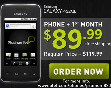 Get this sleek and stylish Android-powered phone + 1st Month of Unlimited Service FREE for only $89.99! Check out www.ptel.com/phones/promom820 for details and ordering!