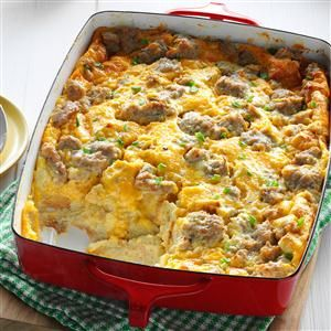Overnight Egg Casserole - sausage, cheese, eggs with cream of mushroom soup, bread, chicken broth, and mustard. Change what doesn't trip your trigger - be sure to add salt and pepper!