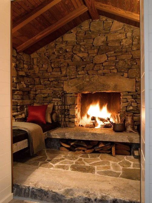 perfect spot to curl up with a good bookCabin, Stones Fireplaces, Dreams, Stones Wall, House, Outdoor Fireplaces, Families Room, Stone Fireplaces, Fireplaces Room