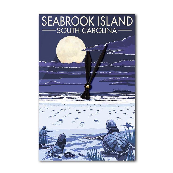 Seabrook Island (Blue) SC Sea Turtles Hatching LP Artwork (Acrylic Wall Clock)