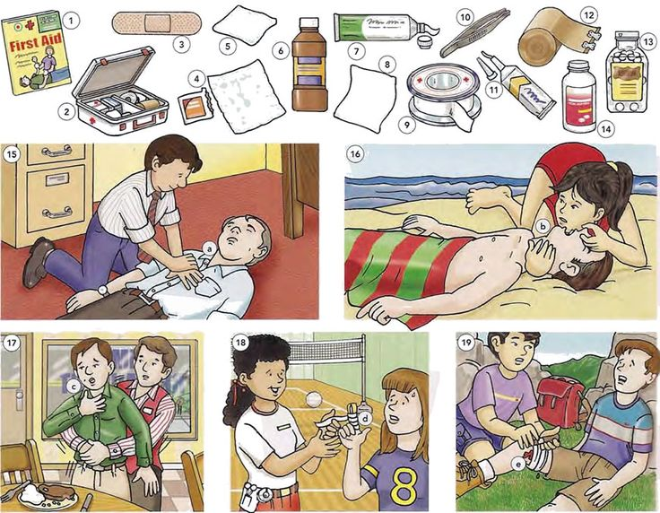 First aid equipment and first aid treatment English lesson in PDF