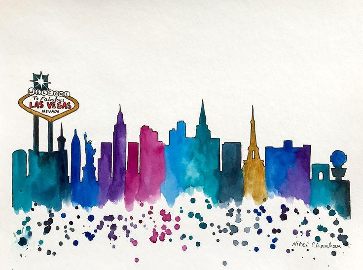 Las Vegas Skyline, Original Watercolor Painting, Illustration, Travel Illustrator, Print, Modern Wall art Home Decor, Handmade Holiday Gift. by NiksPaintGallery on Etsy