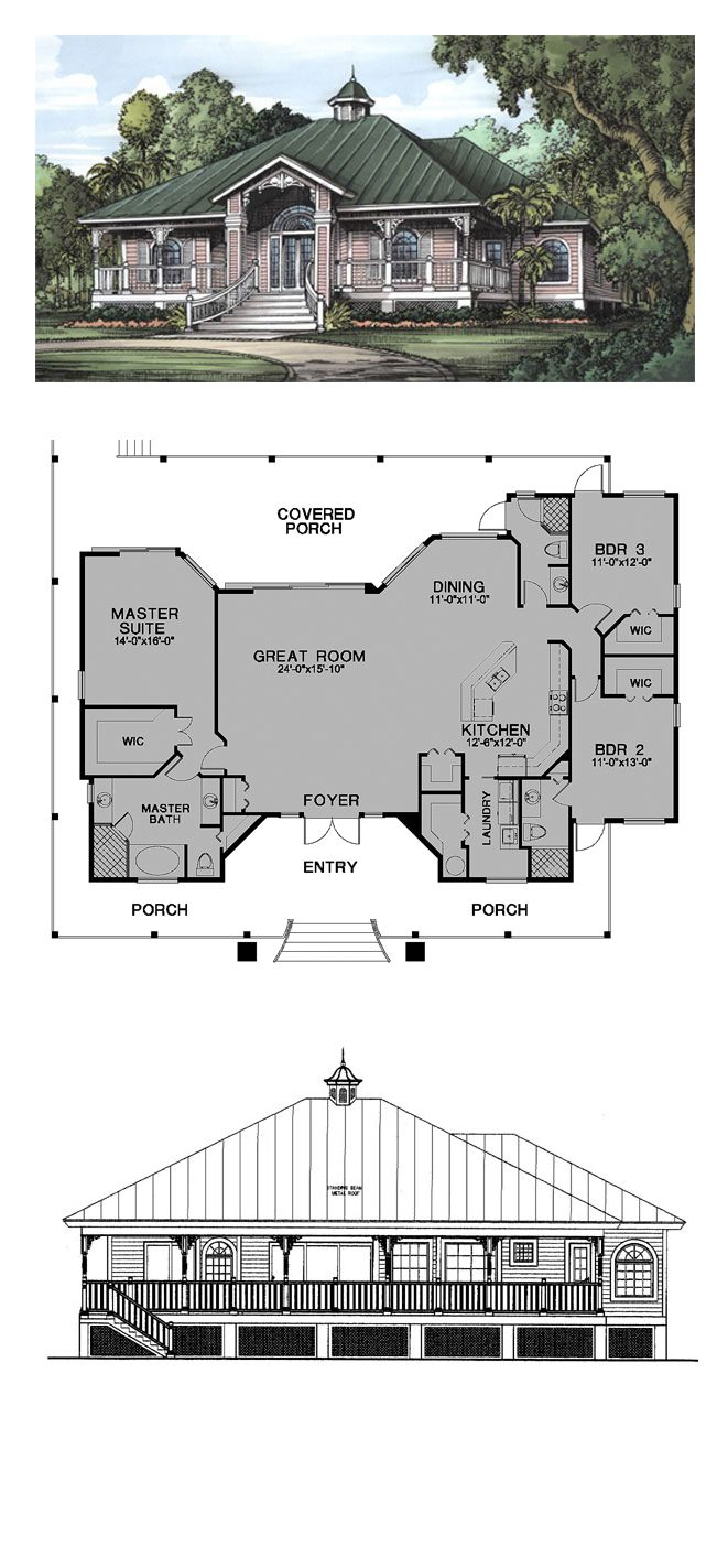 Florida Cracker Style COOL House Plan ID: chp-24541 | Total Living Area: 2112 sq. ft., 3 bedrooms & 3 bathrooms. #houseplan #floridacrackerstyle
