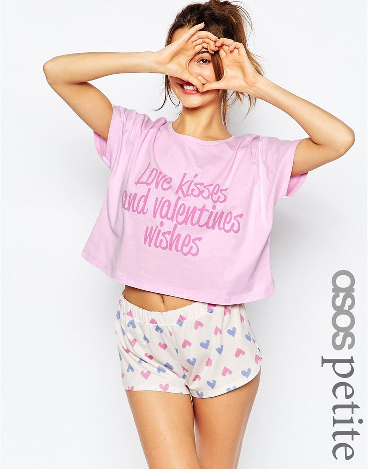 ASOS PETITE Valentine's 'Love & Wishes' Tee & Short Pyjama Set