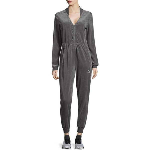 Puma Women's Sophisticated Jumpsuit ($90) ❤ liked on Polyvore featuring jumpsuits, grey, zip front jumpsuit, grey jumpsuit, deep v neck jumpsuit, long sleeve jumpsuit and puma jumpsuit