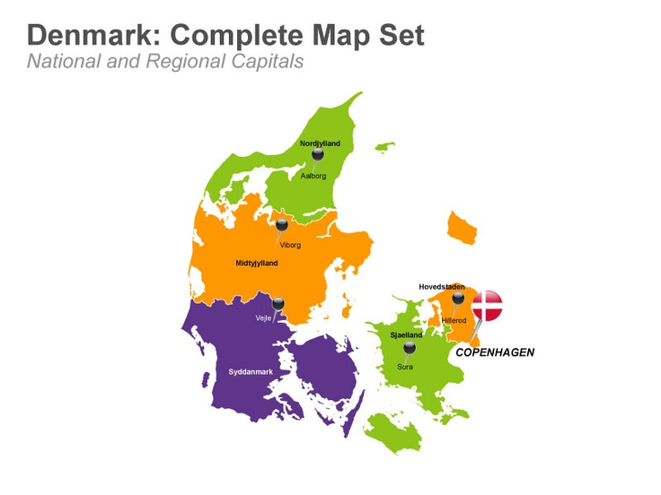 Denmark Map - Complete Set in Apple Keynote.  Check out these 19 editable Keynote slides of Denmark which depicts information about the geographic location, administrative regions like Hovedstaden, Midtjylland, Nordjylland, Sjælland and Syddanmark along with their capitals and major cities, national flag and icons. Download now from muezart.com