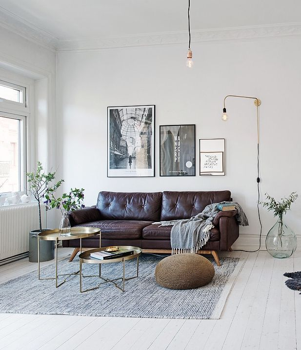Dark leather on a light floor