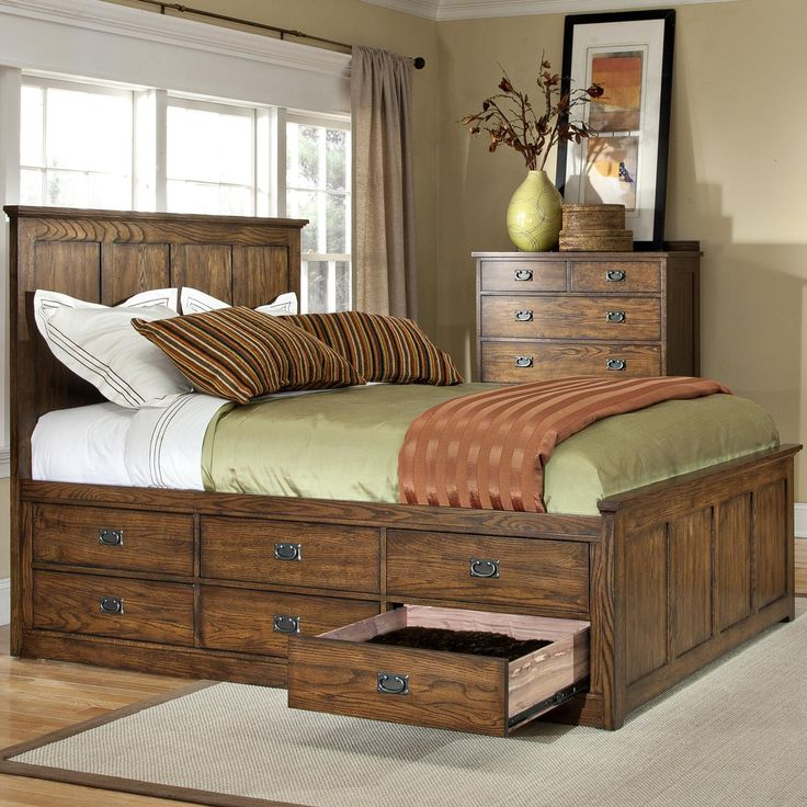 Oak Park King Bed with 12 Storage Drawers by Intercon