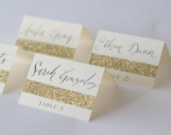 glitter escort cards   Glitter Escort Cards with Custom Ca lligraphy for Wedding Event Party ...