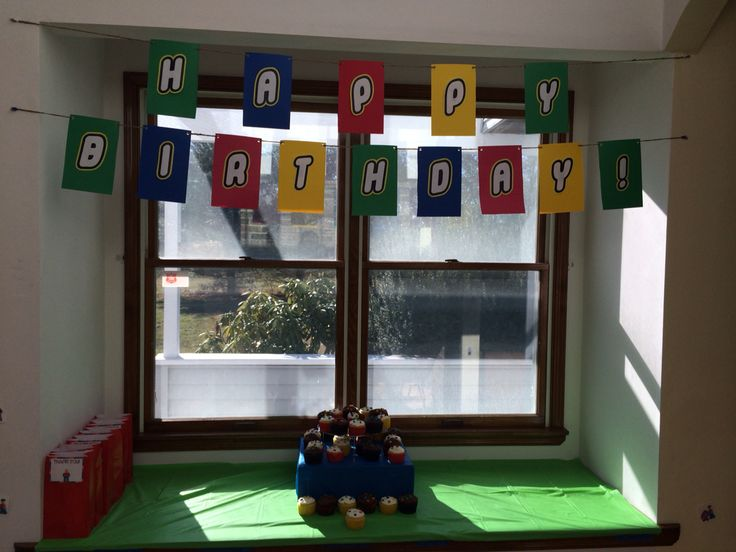 Beginning set up for party. Banner was perfect for theme. Used card stock then printed & cut out letters.