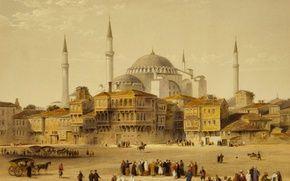 Обои картина, минарет, мечеть, город, Собор Святой Софии, Стамбул, Турция, Айия-Софья