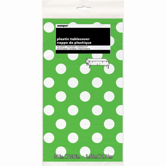 "Plastic Lime Green Polka Dots Table Cover, 108"" x 54"""