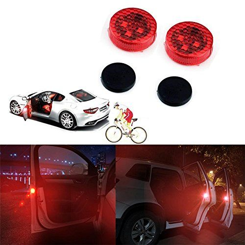 Bearfire 2pcs Car Door Safety Reflector / Anti-Collision Warning LED Lights, New Proximity Switch System, Instant Switch On/Off, Easy D.I.Y. No Wiring (Plug-N-Play), Waterproof.  100% Brand new, TOP Quality, Easy to install, No wiring, Just Plug-N-Play! . New LED technology anti-collision lights. Essential Safety Reflector Light to Ensure Protection For You, Others and Your Vehicle.  Waterproof Design, High-tech Proximity Sensor, Durable, Single Battery Standby Time Up to 3 years.  Lig...