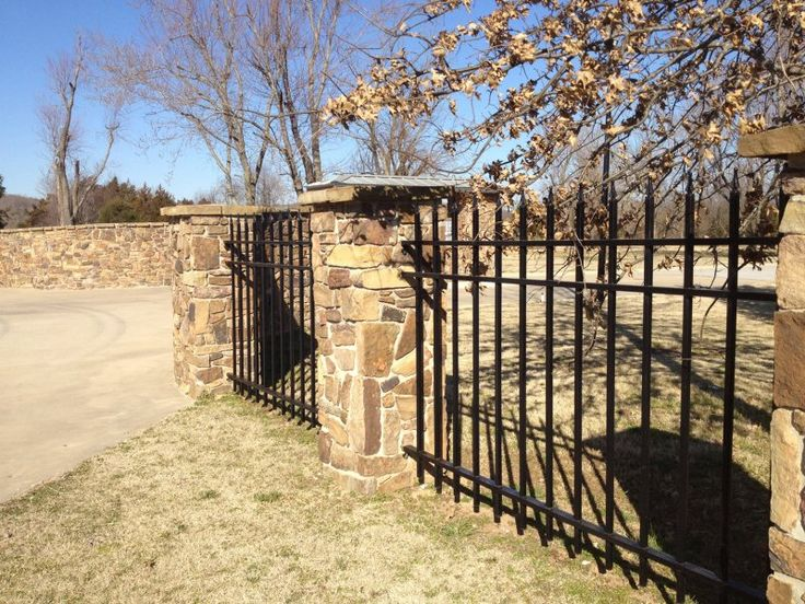 Fence Wrought Iron Fence With Stone Pillars House