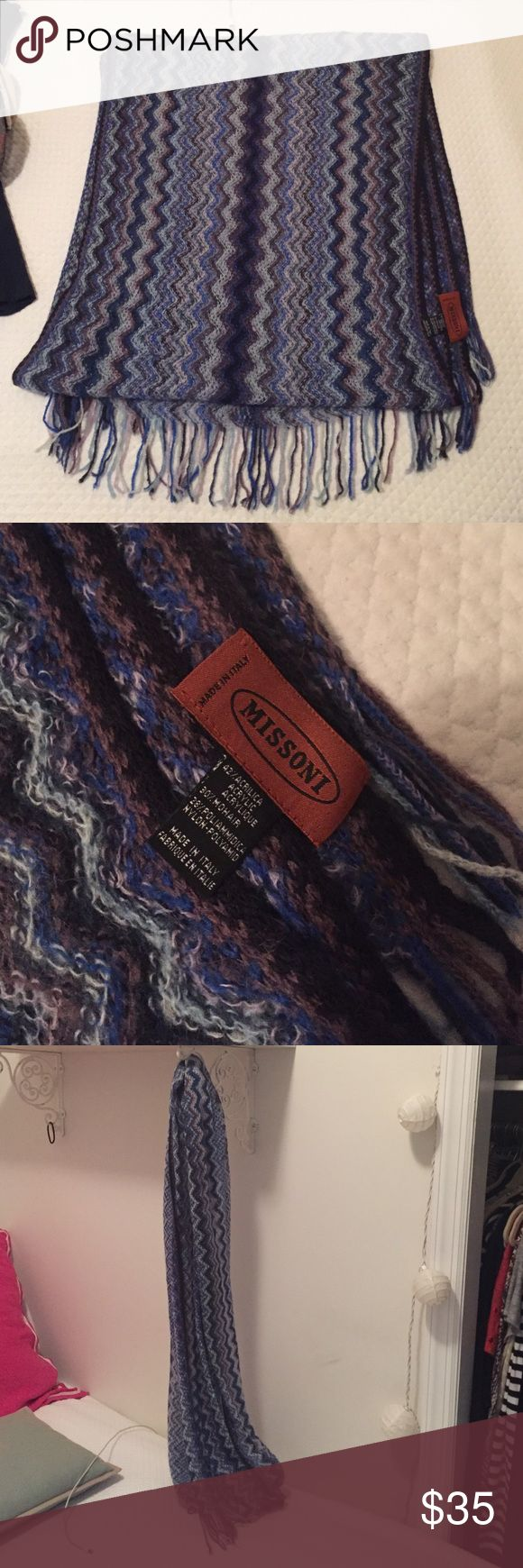 Missoni Scarf Blue zig-zag Missoni scarf (42% acrylic 30% mohair 28% nylon) Missoni Accessories Scarves & Wraps