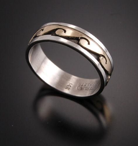 14K Gold and Silver Water Symbol Ring VN12I