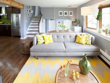 Superior Brilliant Living Room Idea With Wooden Flooring Design And Yellow White  Carpet Area And Calm White Fabric Tufted Sofa Feat Yellow Pillows And Gray  Wall ... Part 28