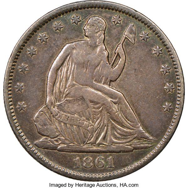Confederate States of America, 1861 50C Original Confederate States of America Half Dolla...
