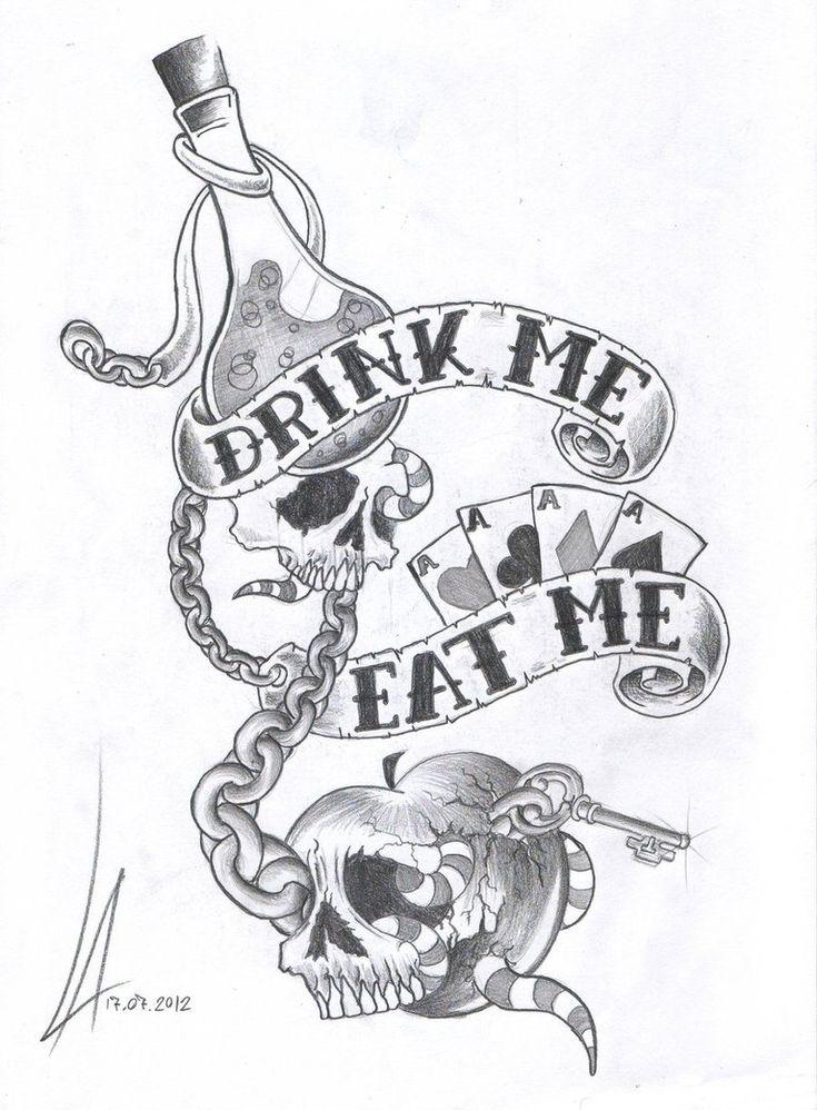 Alice in Wonderland tattoo sketch