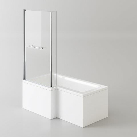 1500x850mm Left Hand L-Shaped Bath - Screen, Rail & Front Panel (Excludes End Panel)