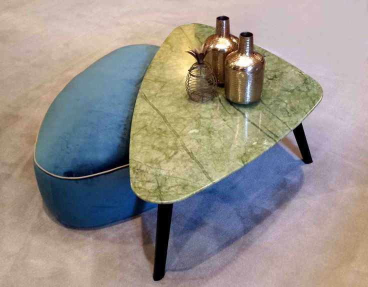 Pantone Kale green: André small table, with a marble top, and ottoman, all by Oasis.