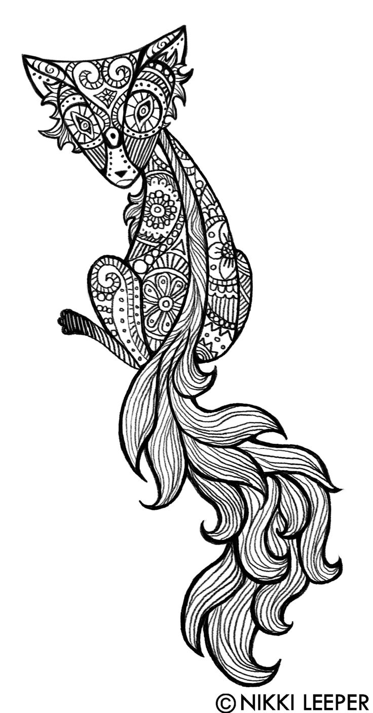 Henna Animals Coloring Pages : Fox by nikkileeper deviantart adult colouring animals