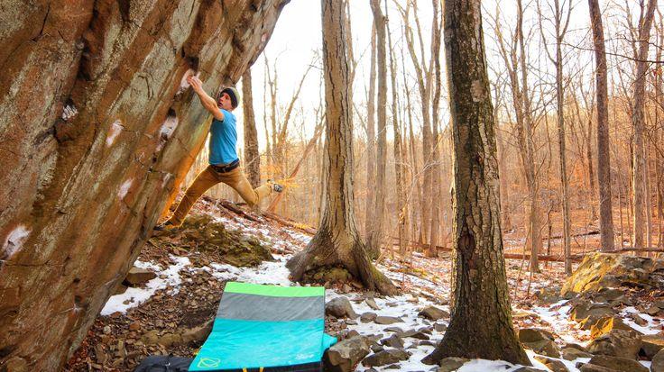 Asana Climbing Ambassador Taylor Treadgold climbing in the Northeast above last season's Rocky Mountain National Park pad! stay tuned to see next season's crash pad colors!