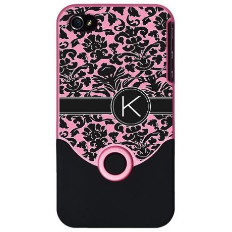 Pink & Black Damask  K Monogram iPhone Case