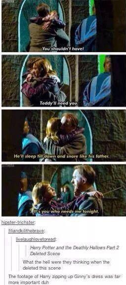TONKS SHOULD HAVE STAYED WITH TEDDY BECAUSE THEN SHE WOULDNT HAVE DIDD AND TEDDY WOULDNT BE ALONE LIKE HARRY BUT HE WOULD STILL HAVE HIS GODFATHER