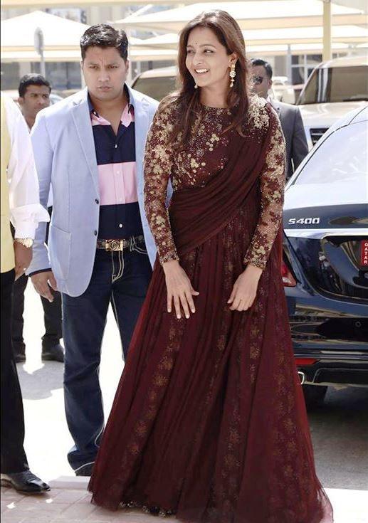 manju warrier in elegnant saree gown .costume by pranaah