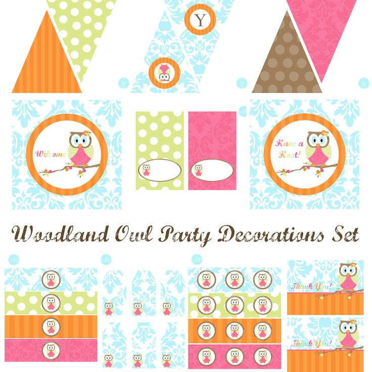 Woodland Owl Party Decorations Owl Birthday Party by BeeAndDaisy