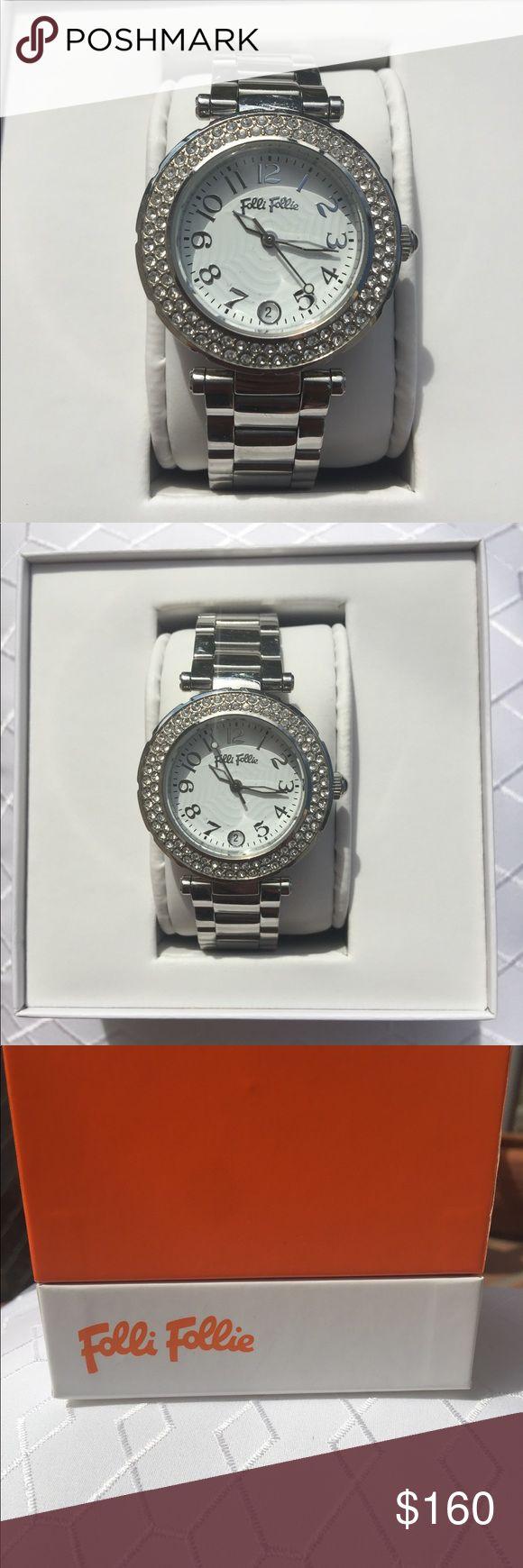 Folli Follie ladies watch🕓🕓Model WF1A022BDS ⬆️Pre-owned  ⬆️Stainless Steel⬆️Quartz (Battery)⬆️Silver⬆️Analog⬆️30.5mm⬆️Round⬆️ Bracelet/link Band⬆️ folli Follie Accessories Watches
