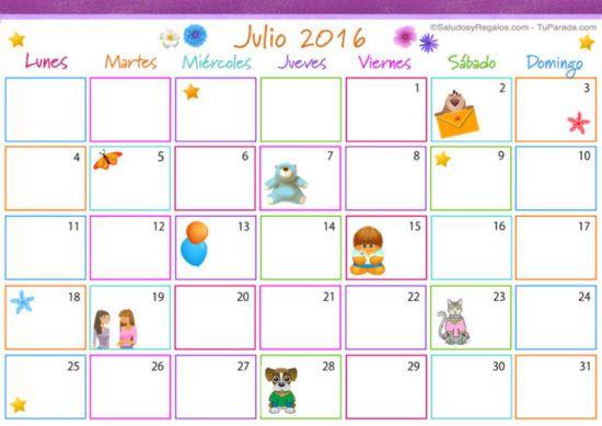 Calendario 2016 de Julio - descargar - imprimir (1)