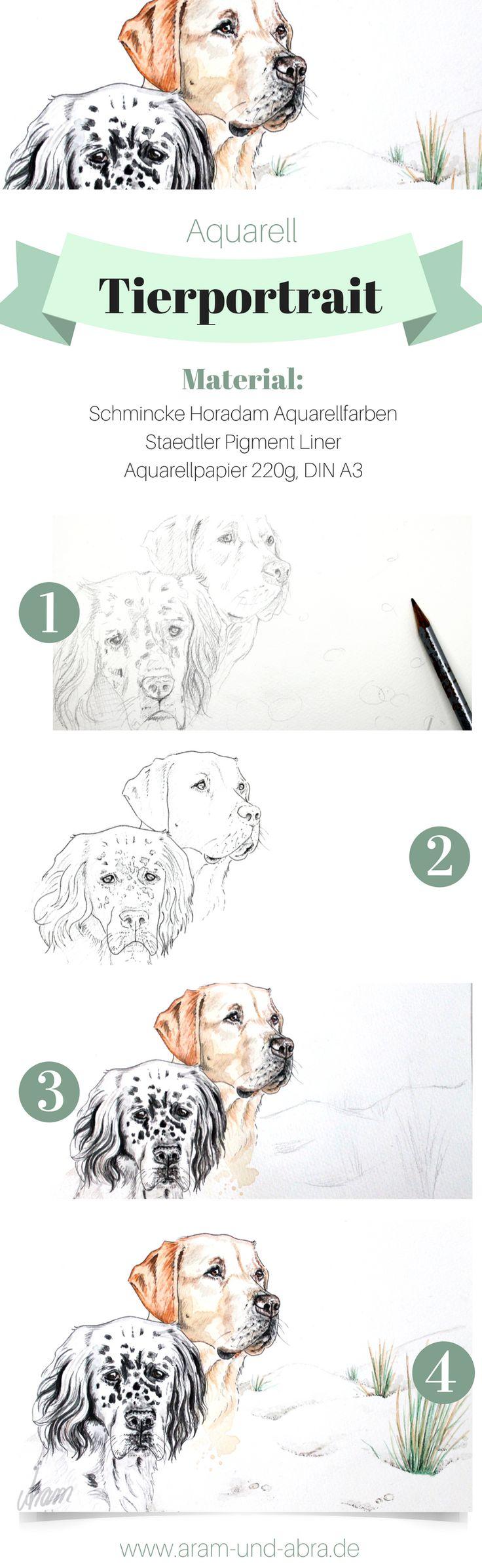 Schritt für Schritt: Hund malen in Aquarell | Portrait | Zeichnen | DIY | Tipps | Anleitung | kreativ | Kunst | Tierportrait | Hunde | Aram und Abra | www.aram-und-abra.de