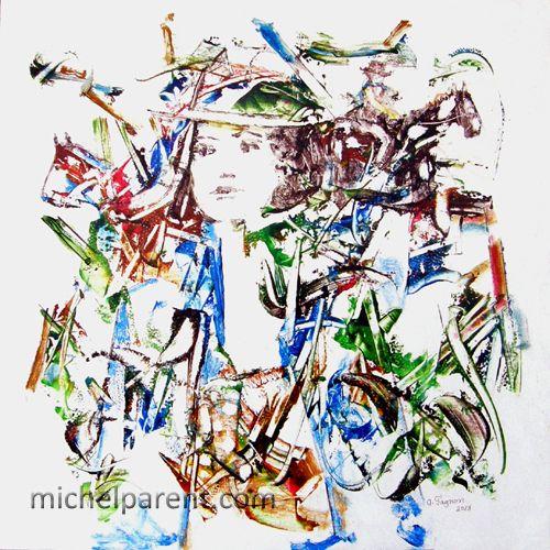 Femme et chevaux (Women and horses), 2013 acrylique sur toile,60 x 60 cm