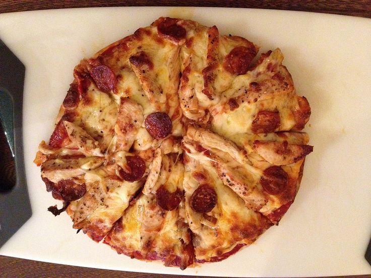 Homemade chicken and chorizo pizza
