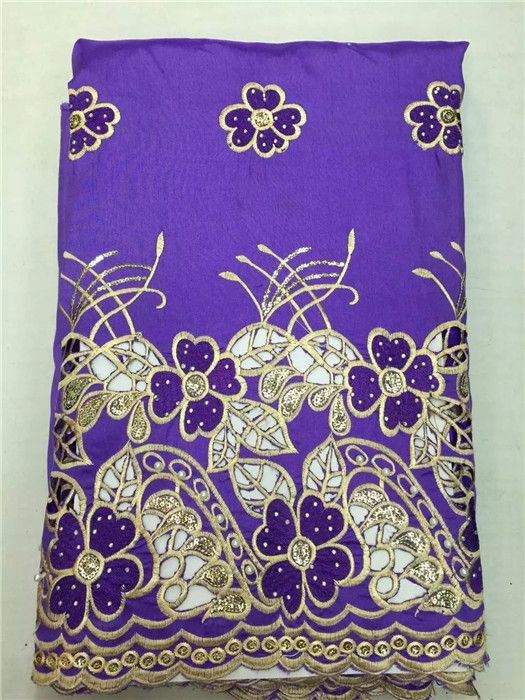 High class African embroidery george lace fabric with beads and rhinestones for lady dress OG55(5yards/lot)