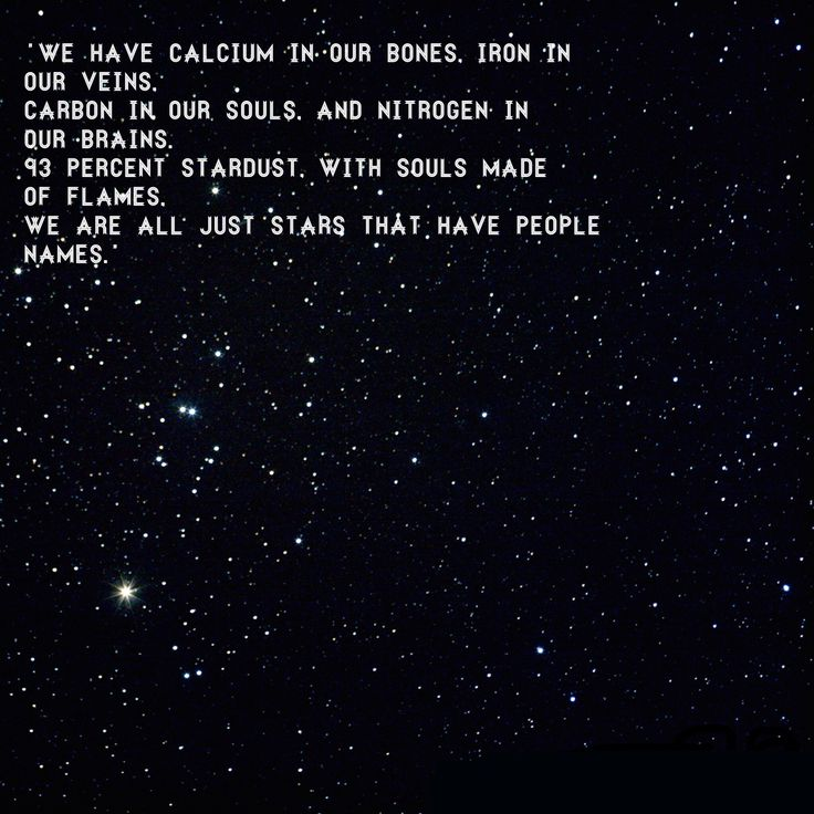 """We have calcium in our bones, iron in our veins,  carbon in our souls, nitrogen in our brains.  93 percent stardust, with souls made of flames, we are all just stars with people names."" -unknown"