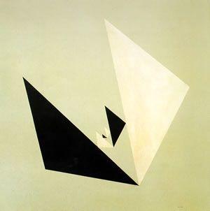 Composição com Triângulo Proporcional,   Alexandre Wollner - 1953; obra premiada na II Bienal Internacional de São Paulo; inovadora quanto ao uso de materiais industriais, como o esmalte sintético e o aglomerado de madeira.