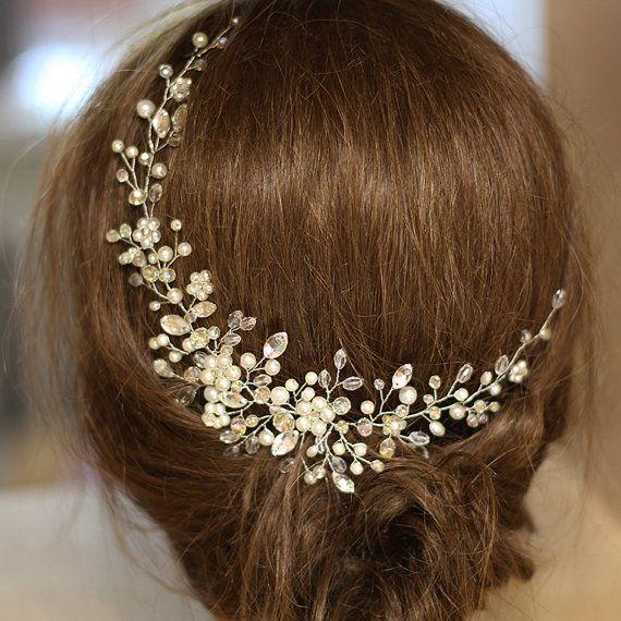 Bridal Headpiece Crystal and Pearl Bridal Hair by SvetloDesign