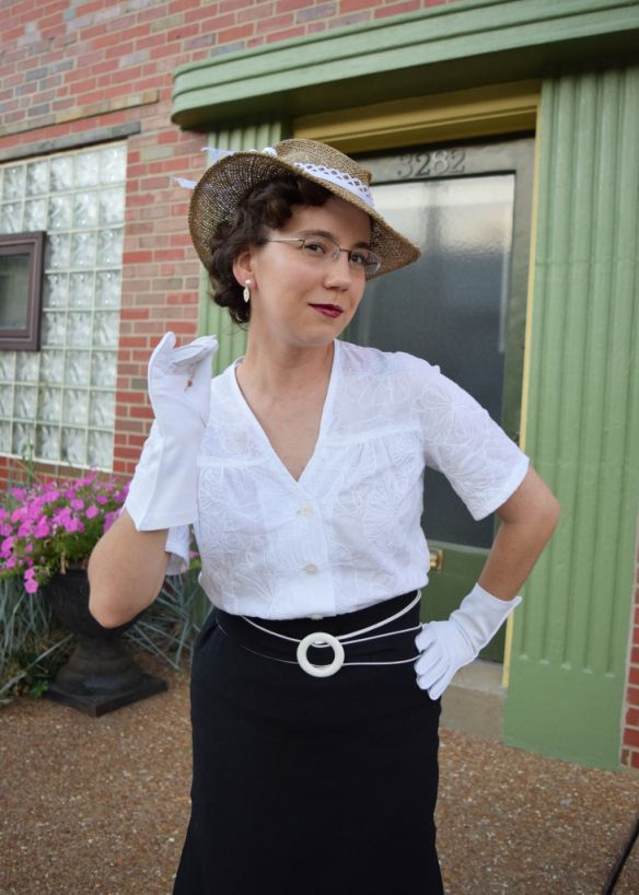 Year 1934 white embroidered cotton blouse, from DuBarry #1114B, and a re-fashioned hat, by Kelly at seamracer.com